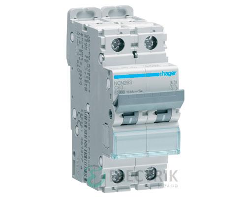 Автоматический выключатель NCN263 2P 10kA C-63A 2M, Hager
