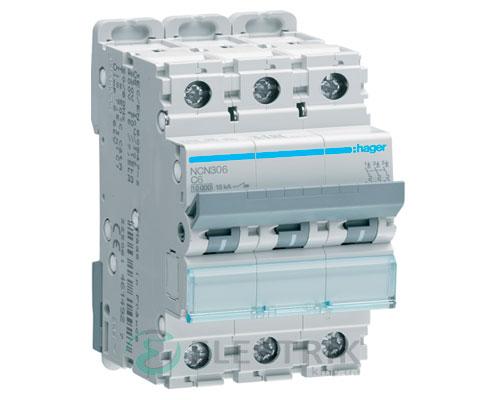 Автоматический выключатель NCN306 3P 10kA C-6A 3M, Hager