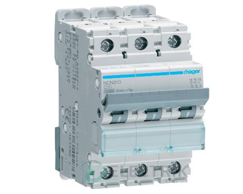 Автоматический выключатель NCN310 3P 10kA C-10A 3M, Hager