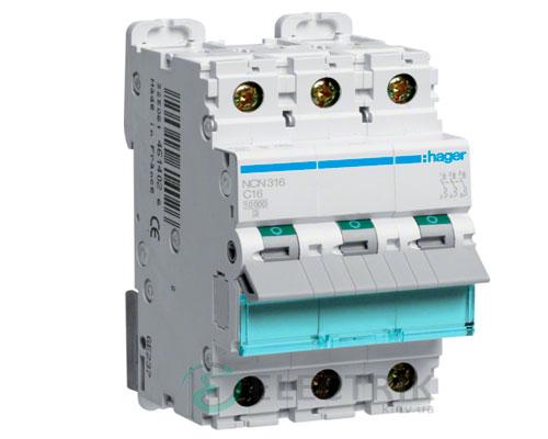 Автоматический выключатель NCN316 3P 10kA C-16A 3M, Hager