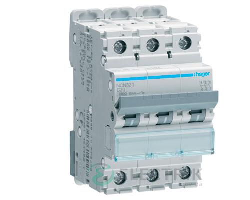 Автоматический выключатель NCN320 3P 10kA C-20A 3M, Hager
