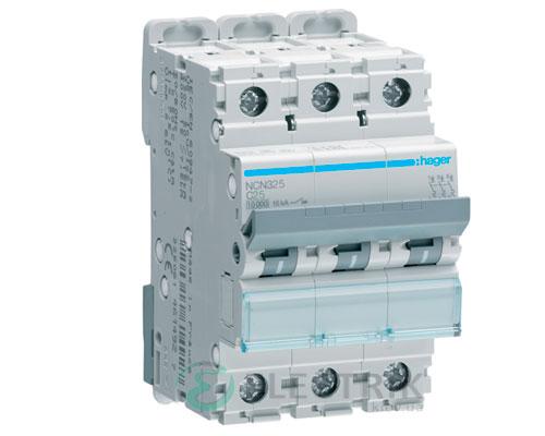 Автоматический выключатель NCN325 3P 10kA C-25A 3M, Hager
