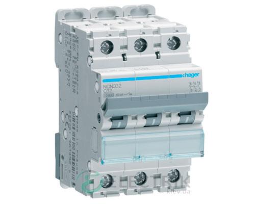 Автоматический выключатель NCN332 3P 10kA C-32A 3M, Hager