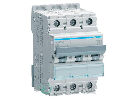 Автоматический выключатель NCN363 3P 10kA C-63A 3M, Hager