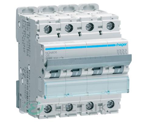 Автоматический выключатель NCN406 4P 10kA C-6A 4M, Hager