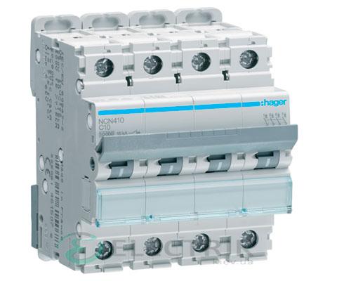 Автоматический выключатель NCN410 4P 10kA C-10A 4M, Hager