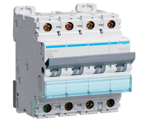 Автоматический выключатель NCN416 4P 10kA C-16A 4M, Hager