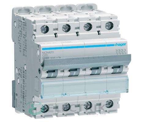Автоматический выключатель NCN420 4P 10kA C-20A 4M, Hager
