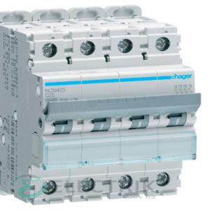 Автоматический выключатель NCN425 4P 10kA C-25A 4M, Hager