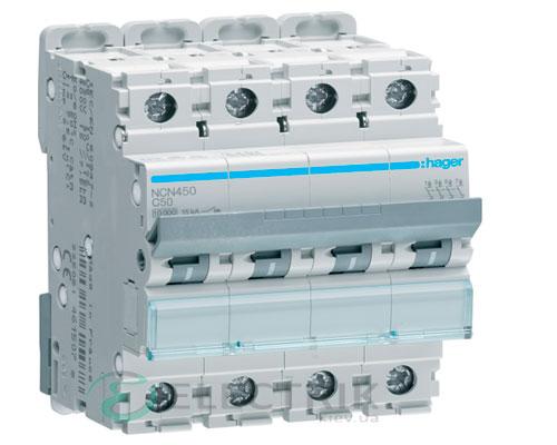 Автоматический выключатель NCN450 4P 10kA C-50A 4M, Hager