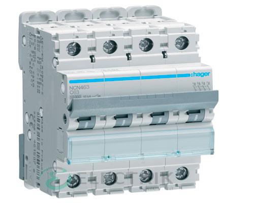 Автоматический выключатель NCN463 4P 10kA C-63A 4M, Hager