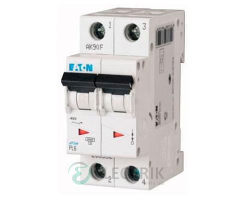 Автоматический выключатель PL6-C10/2 2P 10 А х-ка C, Eaton (Moeller)