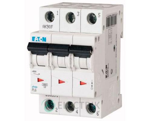 Автоматический выключатель PL6-C6/3 3P 6 А х-ка C, Eaton (Moeller)