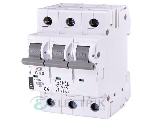 Автоматический-выключатель-ST-68-(4,5-кА)-3p-20-А-хар-ка-C,-ETI-(Словения) 2185317