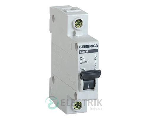 Автоматический-выключатель-ВА47-29-1Р-6А-4,5кА-С-GENERICA