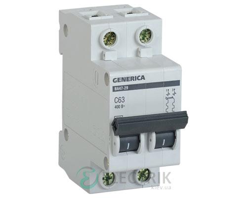 Автоматический-выключатель-ВА47-29-2Р-63А-4,5кА-С-GENERICA