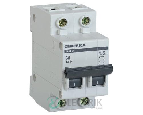 Автоматический-выключатель-ВА47-29-2Р-6А-4,5кА-С-GENERICA