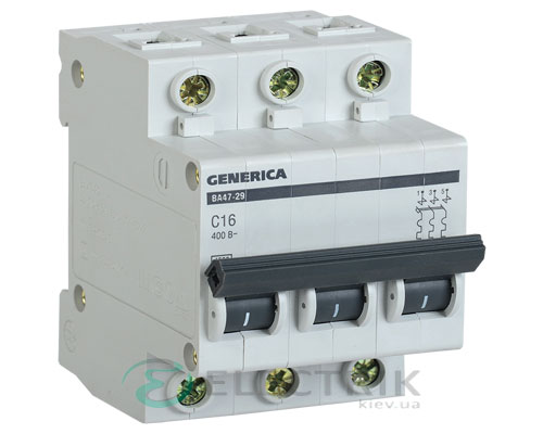 Автоматический-выключатель-ВА47-29-3Р-16А-4,5кА-С-GENERICA