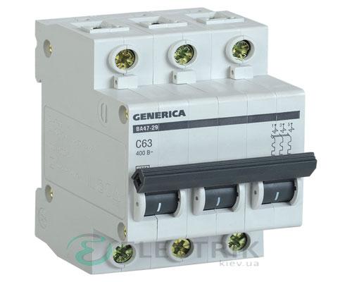 Автоматический-выключатель-ВА47-29-3Р-63А-4,5кА-С-GENERICA