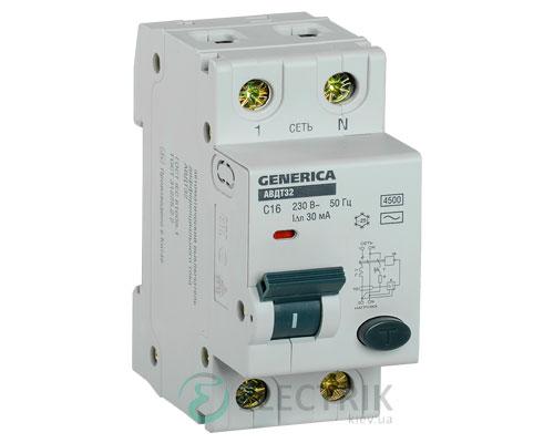 Автоматический выключатель дифференциального тока АВДТ32 C16 GENERICA MAD25-5-016-C-30