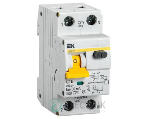 Автоматический выключатель дифференциального тока АВДТ32 C16 IEK MAD22-5-016-C-30