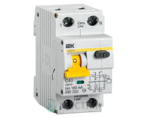 Автоматический выключатель дифференциального тока АВДТ32 C40 100мА IEK MAD22-5-040-C-100