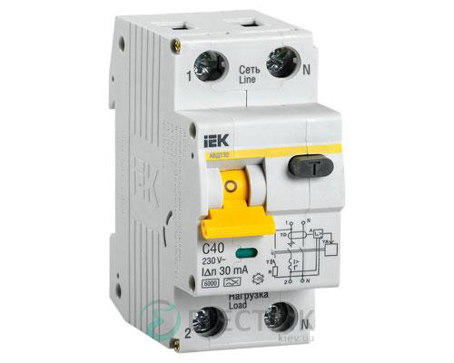 Автоматический выключатель дифференциального тока АВДТ32 C40 30мА IEK MAD22-5-040-C-30