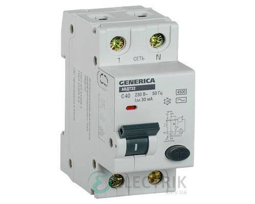 Автоматический выключатель дифференциального тока АВДТ32 C40 GENERICA MAD25-5-040-C-30