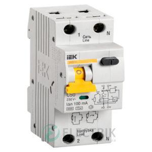 Автоматический выключатель дифференциального тока АВДТ32 C50 100мА IEK MAD22-5-050-C-100