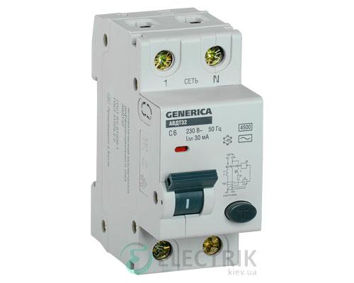 Автоматический выключатель дифференциального тока АВДТ32 C6 GENERICA MAD25-5-006-C-30