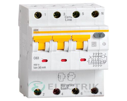 Автоматический выключатель дифференциального тока АВДТ34 C10 30мА IEK MAD22-6-010-C-30