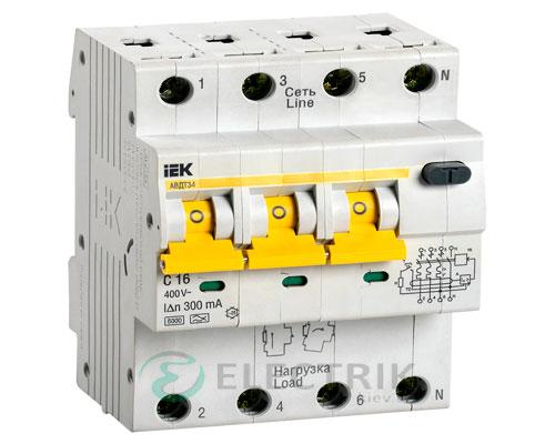 Автоматический выключатель дифференциального тока АВДТ34 C16 300мА IEK MAD22-6-016-C-300