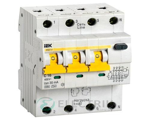 Автоматический выключатель дифференциального тока АВДТ34 C16 30мА IEK MAD22-6-016-C-30
