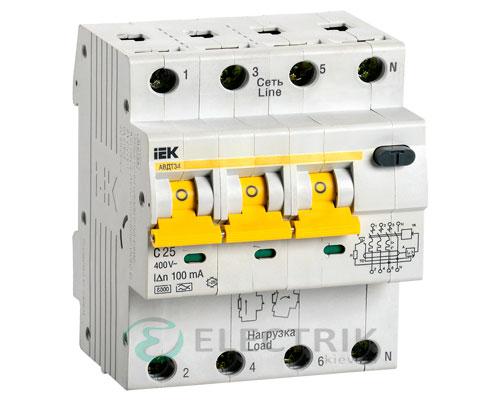 Автоматический выключатель дифференциального тока АВДТ34 C25 100мА IEK MAD22-6-025-C-100