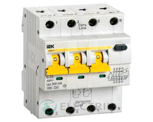 Автоматический выключатель дифференциального тока АВДТ34 C25 300мА IEK MAD22-6-025-C-300