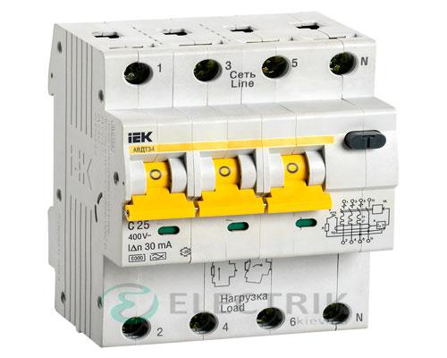 Автоматический выключатель дифференциального тока АВДТ34 C25 30мА IEK MAD22-6-025-C-30