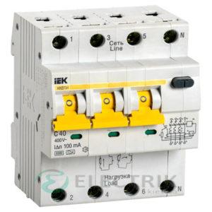 Автоматический выключатель дифференциального тока АВДТ34 C40 100мА IEK MAD22-6-040-C-100