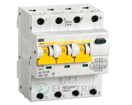 Автоматический выключатель дифференциального тока АВДТ34 C40 30мА IEK MAD22-6-040-C-30