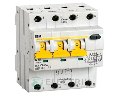 Автоматический выключатель дифференциального тока АВДТ34 C50 300мА IEK MAD22-6-050-C-300