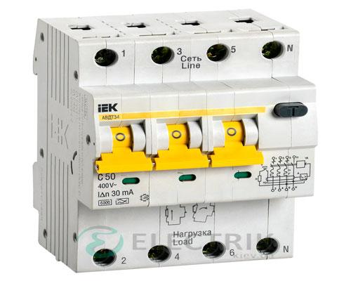 Автоматический выключатель дифференциального тока АВДТ34 C50 30мА IEK MAD22-6-050-C-30