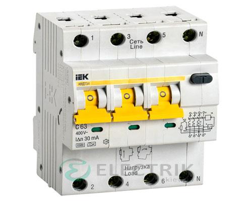 Автоматический выключатель дифференциального тока АВДТ34 C63 30мА IEK MAD22-6-063-C-30