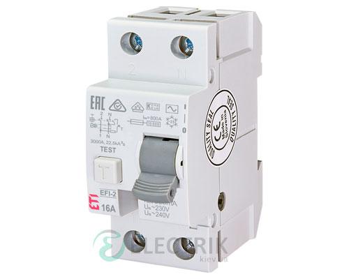 Дифференциальное реле (УЗО) EFI-2 16А 500мА тип AC 10кА, ETI (Словения)