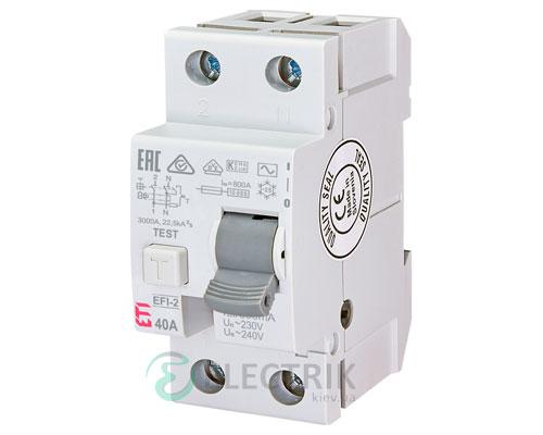Дифференциальное реле (УЗО) EFI-2 40А 300мА тип AC 10кА, ETI (Словения)