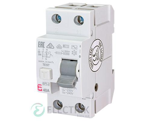 Дифференциальное реле (УЗО) EFI-2 40А 500мА тип AC 10кА, ETI (Словения)