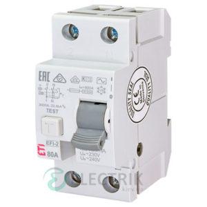 Дифференциальное реле (УЗО) EFI-2 80А 100мА тип AC 10кА, ETI (Словения)