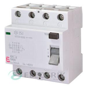 Дифференциальное реле (УЗО) EFI-4 100А 30мА тип AC 10кА, ETI (Словения)