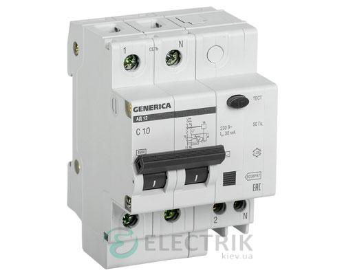 Дифференциальный-автоматический-выключатель-АД12 2Р 10А 30мА GENERICA MAD15-2-010-C-030