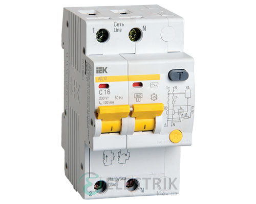Дифференциальный-автоматический-выключатель-АД12 2Р 16А 100мА IEK MAD10-2-016-C-100