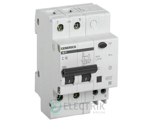 Дифференциальный-автоматический-выключатель-АД12 2Р 16А 30мА GENERICA MAD15-2-016-C-030