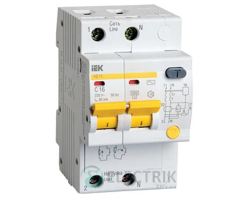 Дифференциальный-автоматический-выключатель-АД12 2Р 16А 30мА IEK MAD10-2-016-C-030